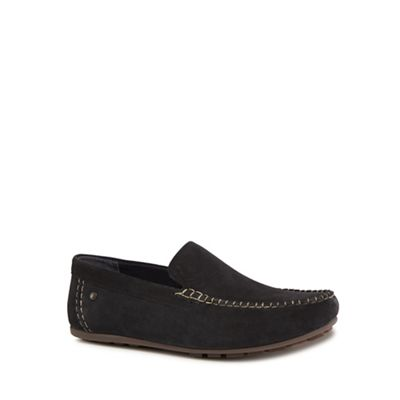 Base London - Navy suede 'Henton' slip-on shoes