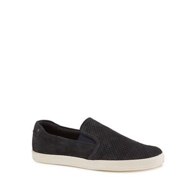 Base London - Navy suede 'Clipper' slip-on shoes