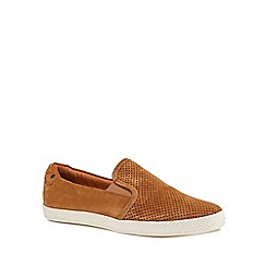 Base London - Tan suede 'Clipper' slip-on shoes