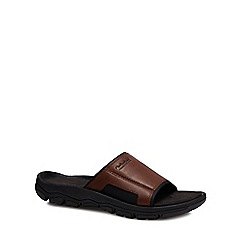 Timberland - Brown leather 'Roslindale' sliders