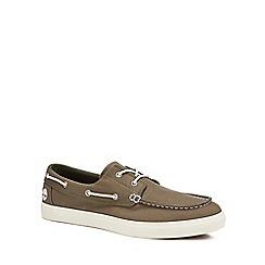 Timberland - Khaki canvas 'Union Wharf' boat shoes