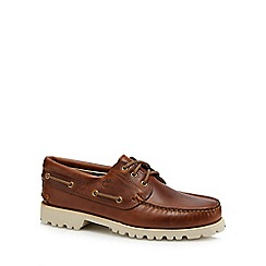 Timberland - Dark tan leather 'Chilmark' boat shoes