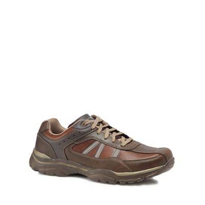 Skechers - Dark brown leather 'Rovato Texon' trainers