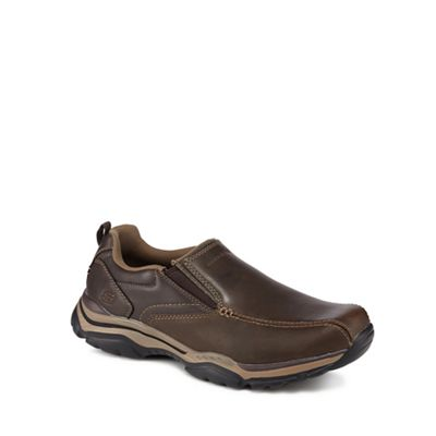 Skechers - Dark brown leather 'Rovato Ventin' slip-on shoes