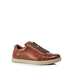 Skechers - Dark tan leather 'Volden' lace up shoes