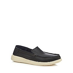 Skechers - Black leather 'Status' slip-on shoes