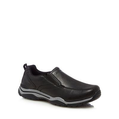 Skechers - Black leather 'Rovato Ventin' slip-on shoes