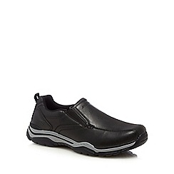 Skechers - Black leather 'Rovato Ventin' slip-on shoes