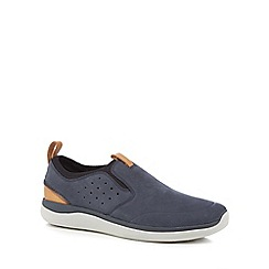 Clarks - Navy nubuck 'Garrett' slip-on trainers
