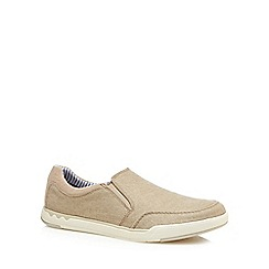 Clarks - Natural canvas 'Step Isle' slip-on shoes