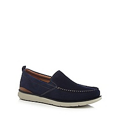 Clarks - Blue suede 'Edgewood Step' slip on shoes