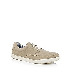 Clarks - Natural canvas 'Step Isle' lace up trainers