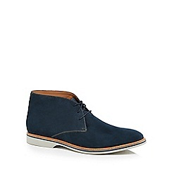 Clarks - Navy leather 'Atticus' desert boots