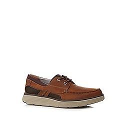 Clarks - Dark tan 'Un Abode' boat shoes