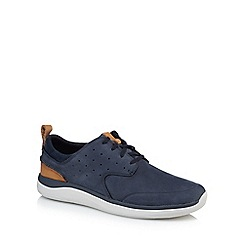 Clarks - Navy leather 'Garratt' lace up trainers