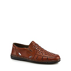 Rieker - Tan leather slip on shoes