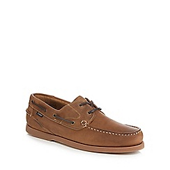 Loake - Brown leather 'Lymington' boat shoes