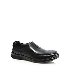 Clarks - Black leather 'Cotrell' slip-on shoes