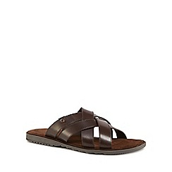 Base London - Brown leather 'Apollo' slip-on sandals
