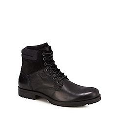 Jack & Jones - Black leather 'Zachary' lace up boots