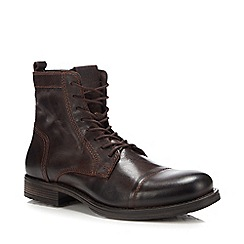 Jack & Jones - Brown leather 'Russell' lace up boots