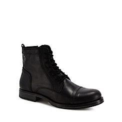 Jack & Jones - Black leather 'Russell' lace up boots