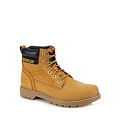 Caterpillar - Tan nubuck 'Stick Shift' lace up boots