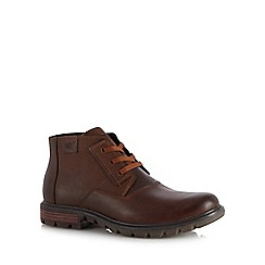 Caterpillar - Brown leather 'Stats' lace up boots