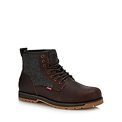 Levi's - Dark brown leather 'Logan' lace up boots