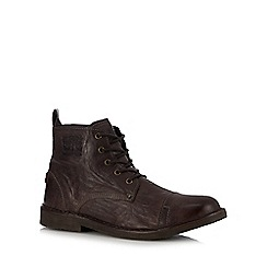 Levi's - Dark brown leather 'Track' boots