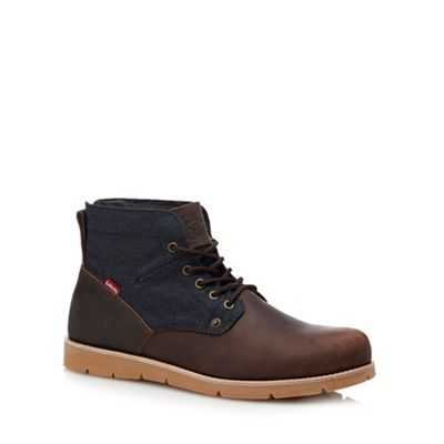 levi's dark brown leather 'jax' lace up boots