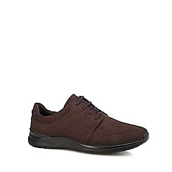 ECCO - Chocolate brown nubuck 'Irving' lace up shoes