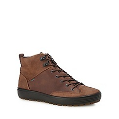 ECCO - Brown leather 'Soft 7' high top trainers