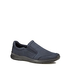 ECCO - Navy leather 'Irving' slip-on shoes