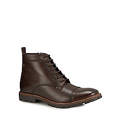 Base London - Brown leather 'Brigade' lace up boots