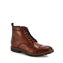 Base London - Tan leather 'Brigade' lace up boots