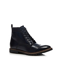 Base London - Navy Leather 'Brigade' Lace Up Boots