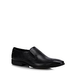 Base London - Black Leather 'Trent' Slip-On Shoes