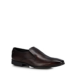 Base London - Brown Leather 'Trent' Slip-On Shoes