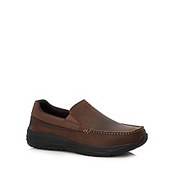 Skechers - Brown leather 'Harsen Ortego' slip-on shoes