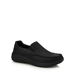 Skechers - Black leather 'Harsen Ortego' slip-on shoes
