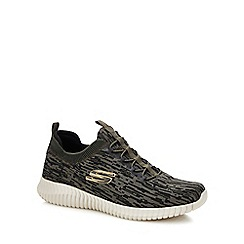 Skechers - Khaki knitted 'elite flex hartnell' slip-on trainers