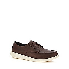 Skechers - Dark brown leather 'status - lerado' lace up shoes