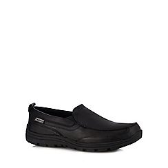 Skechers - Black leather 'Hobbes' slip-on shoes
