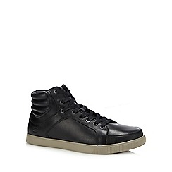 Skechers - Black leather 'Volden' lace up high top trainers