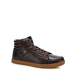 Skechers - Dark brown leather 'volden' lace up shoes