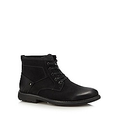 Hush Puppies - Black leather 'duke' lace up boots