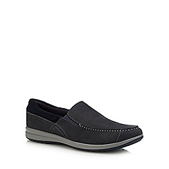Hush Puppies - Navy Suede 'Runner' Slip On Shoes