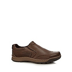 Hush Puppies - Brown leather 'jasper' slip-on shoes