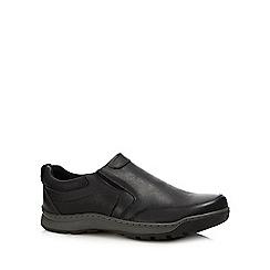 Hush Puppies - Black leather 'jasper' slip-on shoes